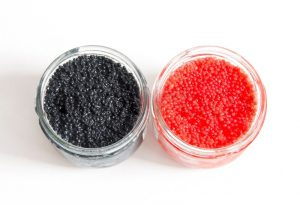red-and-black-caviar-in-glass-jars