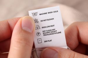 Clothes label with cleaning instructions
